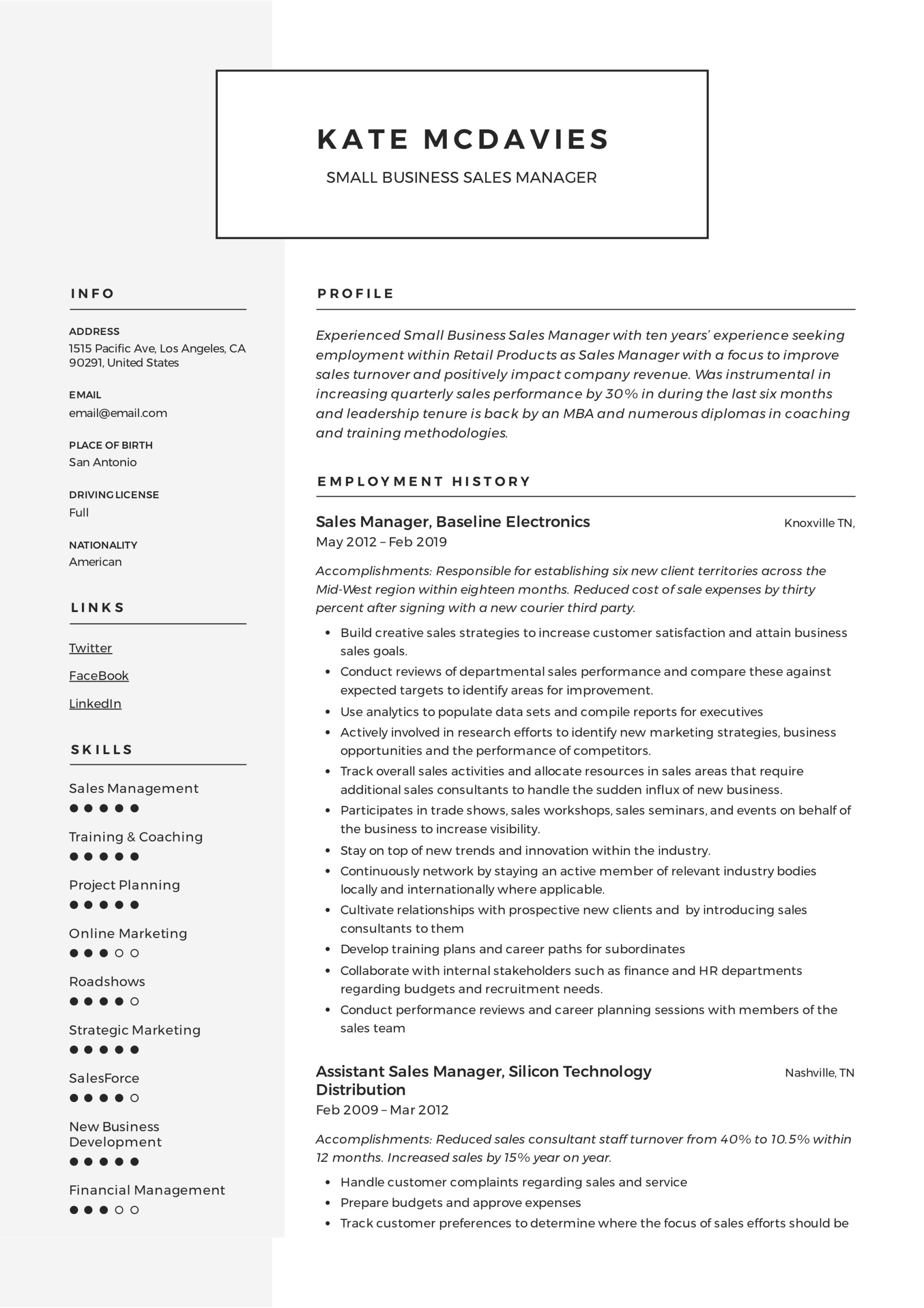 resume objective for sales manager