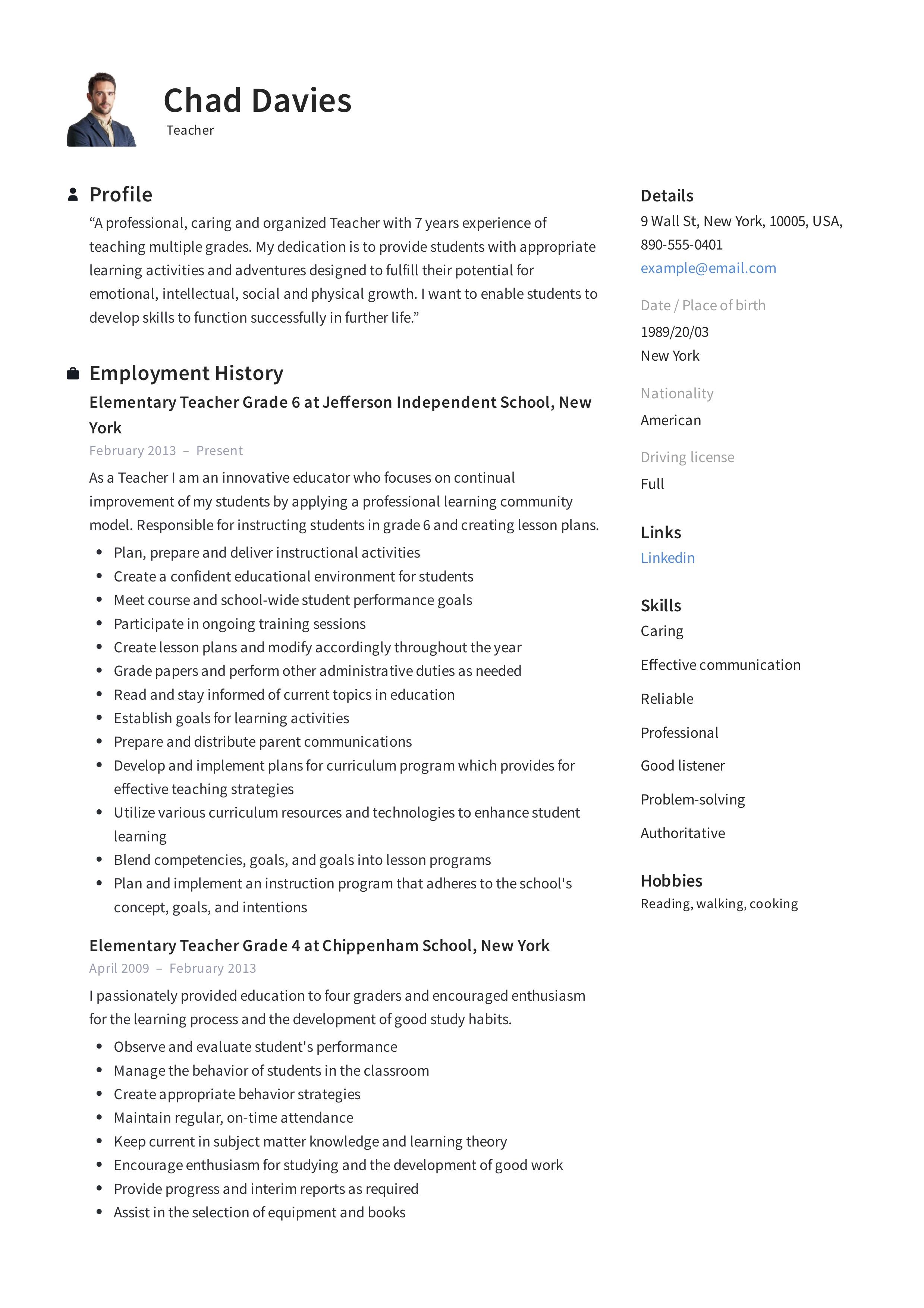 career objective in resume for teacher