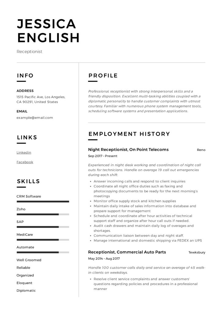 Resume Examples For Receptionist