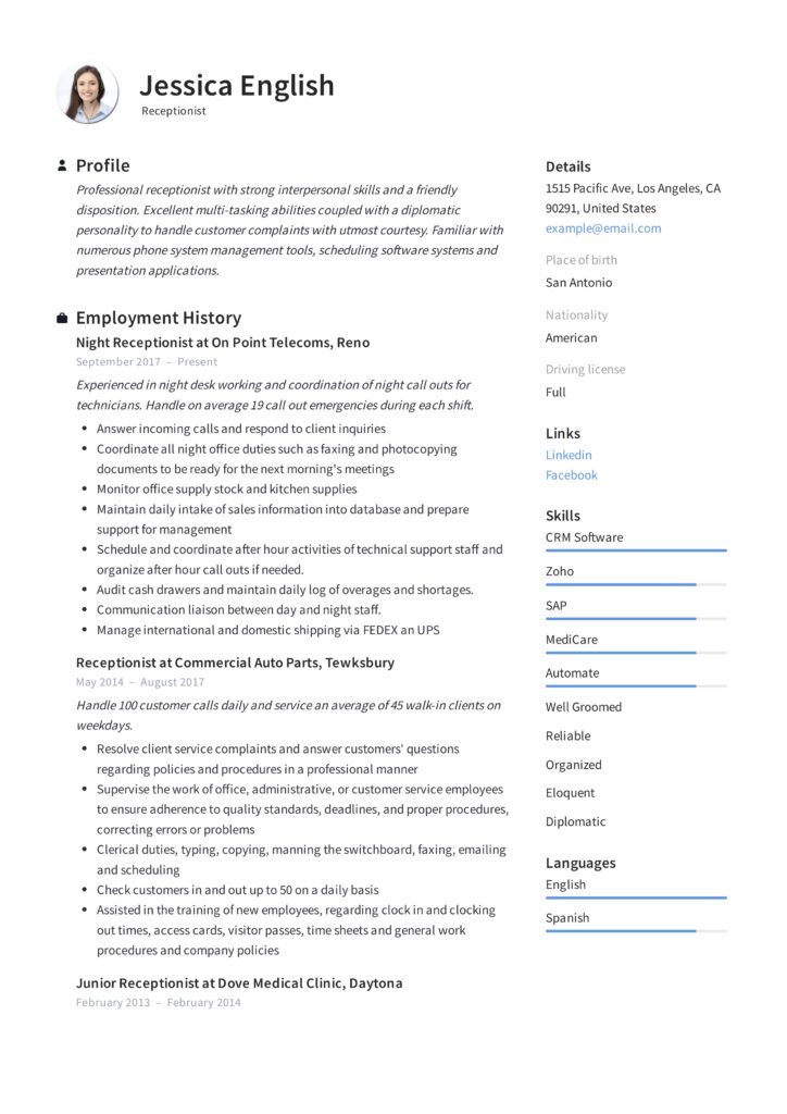 Receptionist Resume Example  Writing Guide  12 Samples