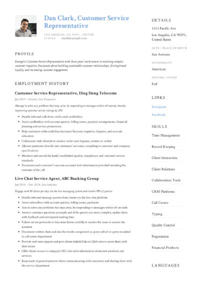 client service representative sample resume pdf