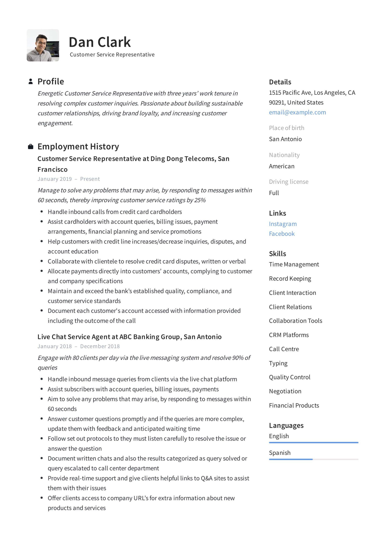 resume format for customer service officer