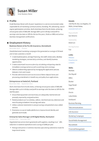 templates of resumes of educators and small buisness owners