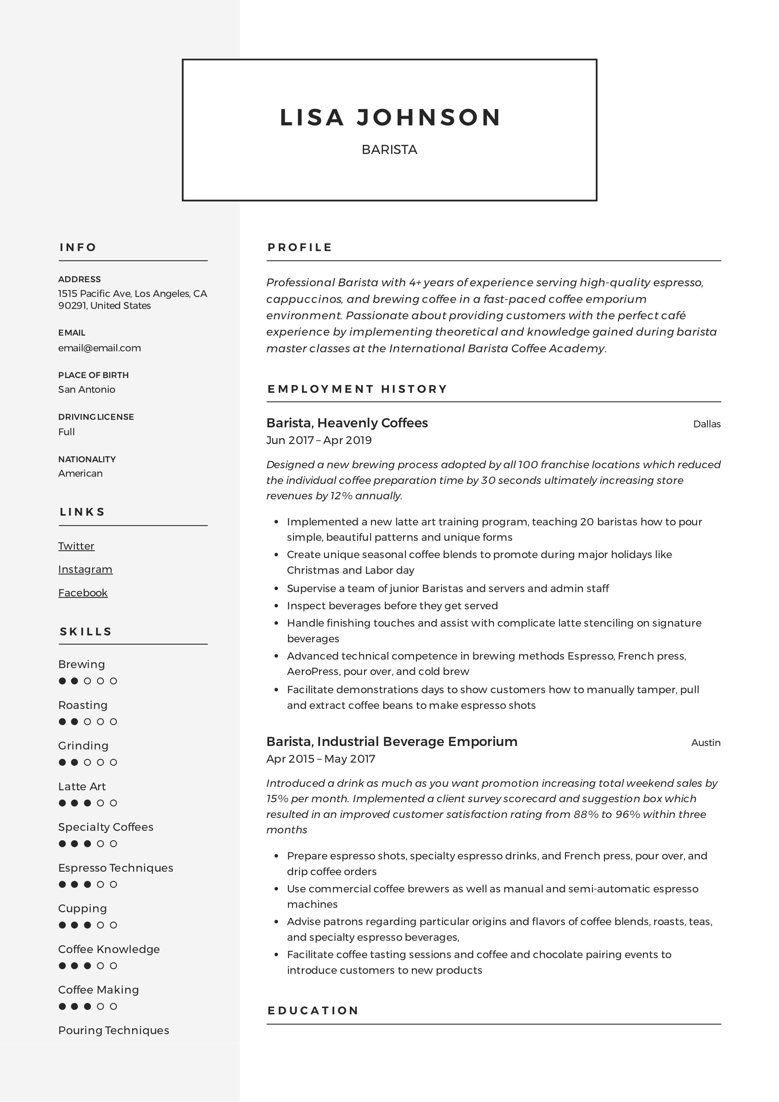 resume samples no job experience