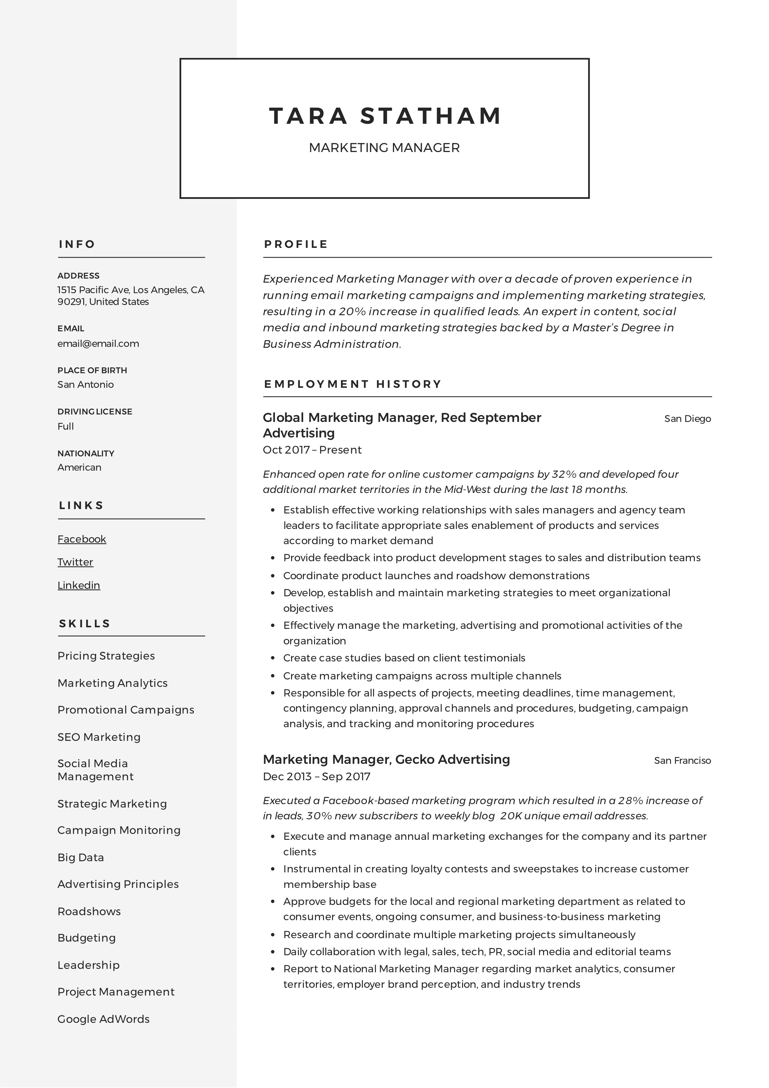 resume examples for marketing professionals