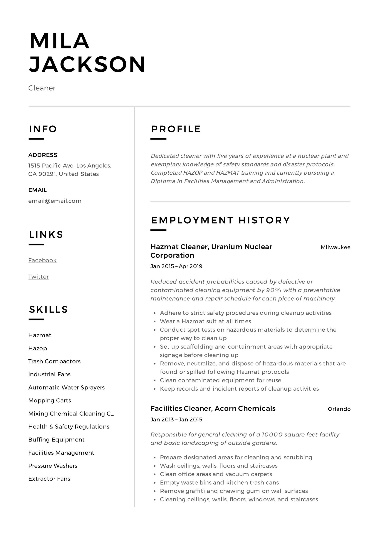cleaner resume sample pdf