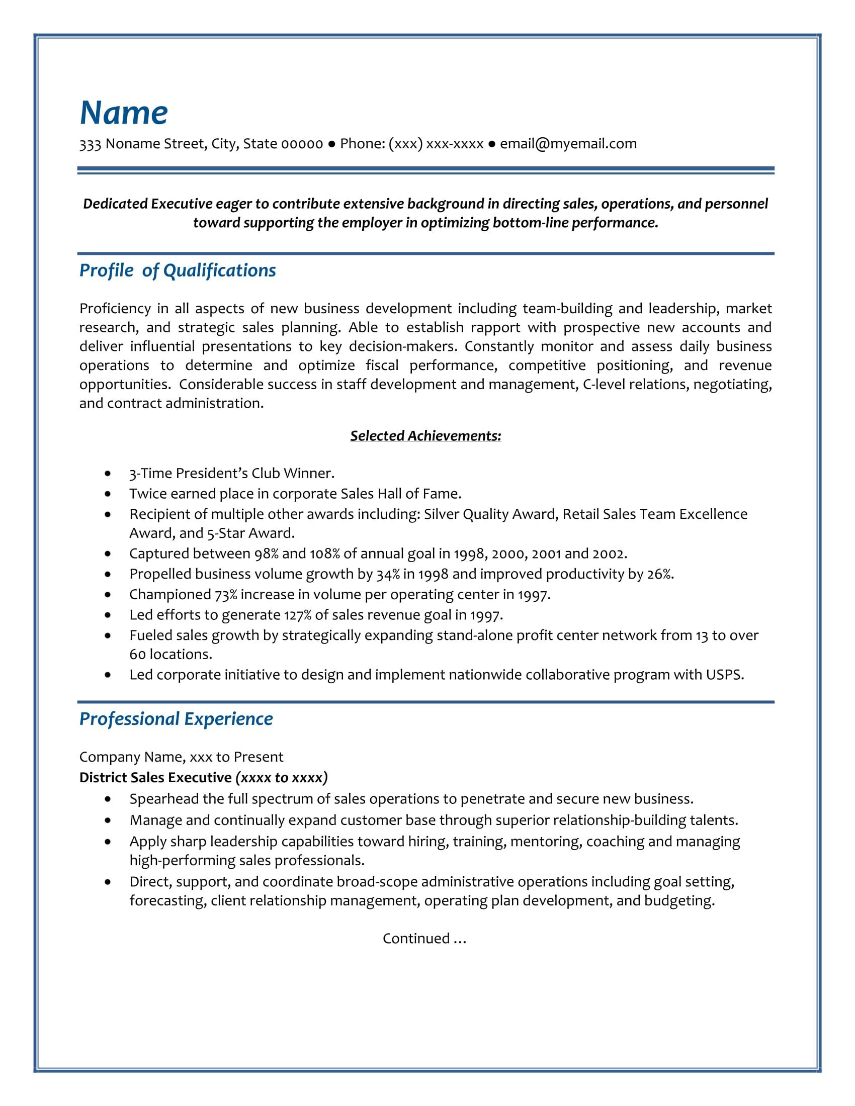 Executive Resume - Sample 2