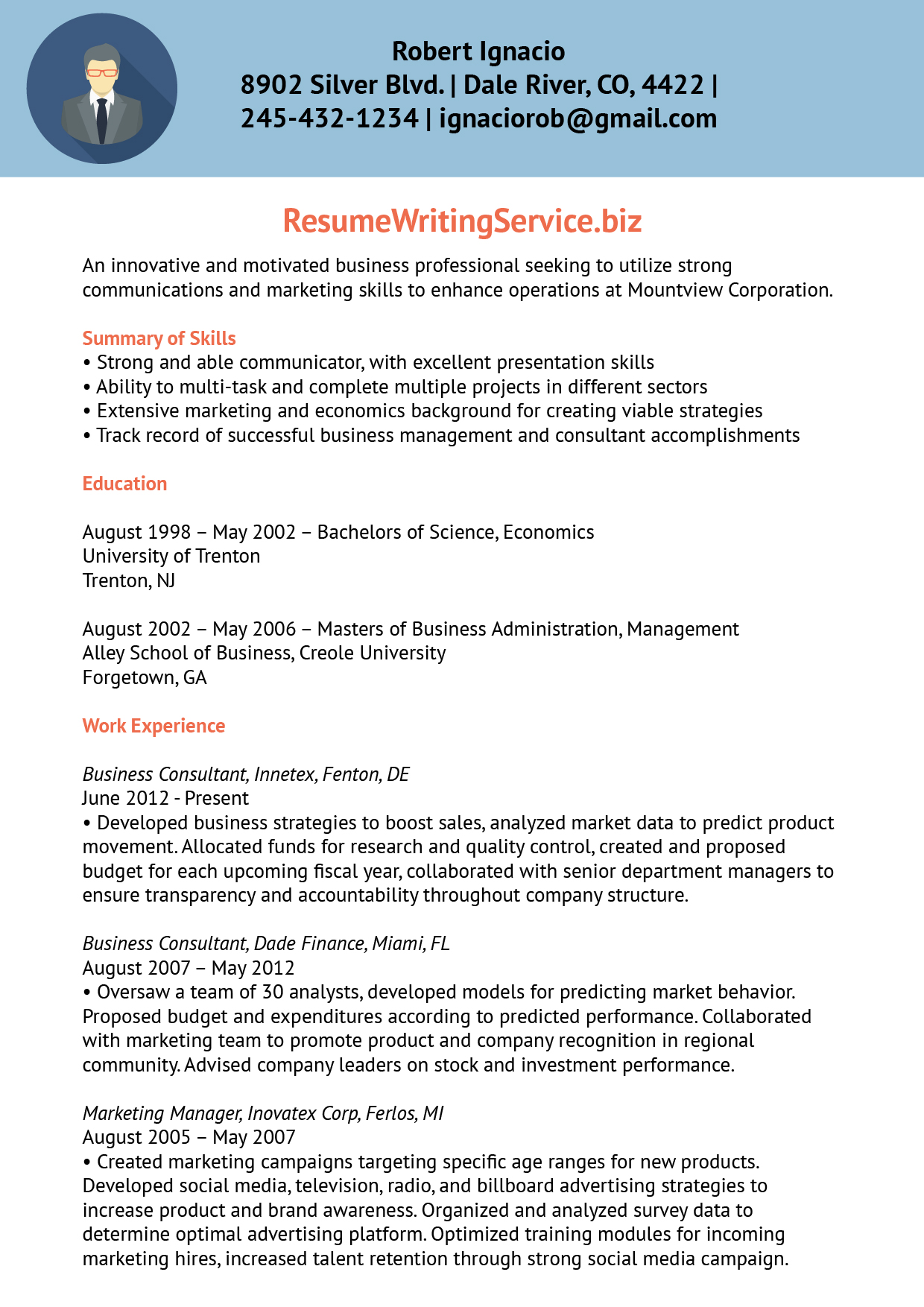 work experience resume for business management