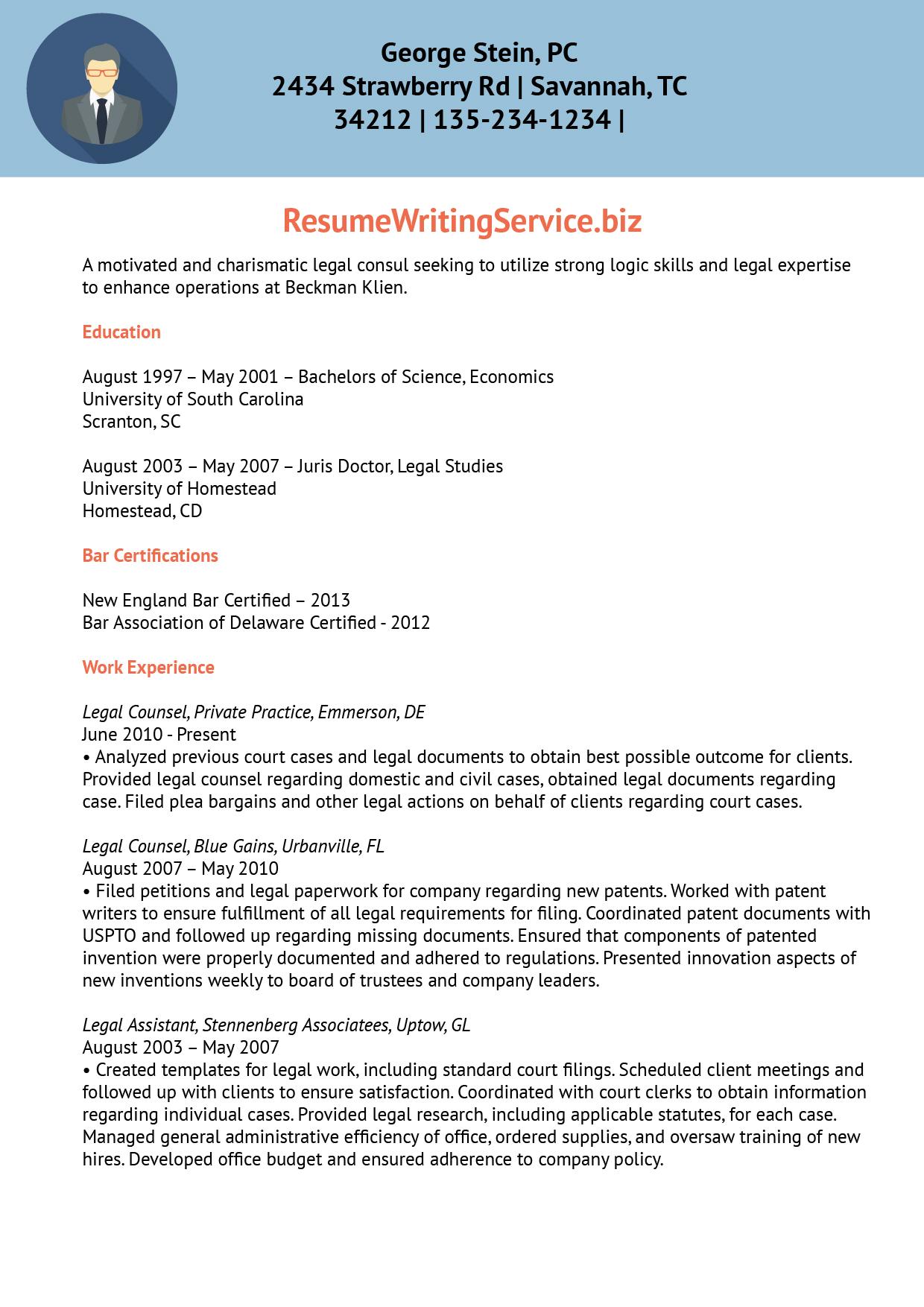 Legal Consultant Resume Sample