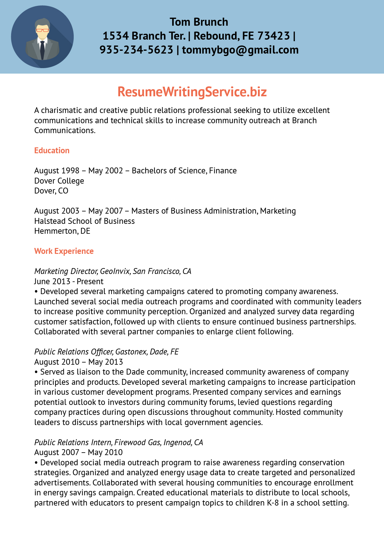 community relations cover letter