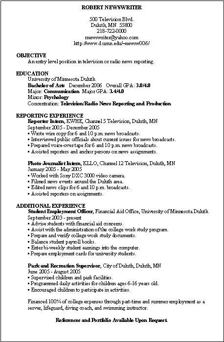 Resume Resume Objective Examples For Journalism sample resume for entry level journalism template objective examples frizzigame