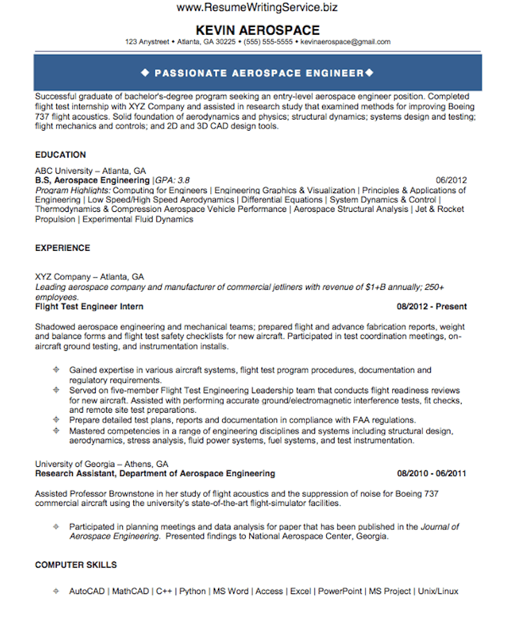 See Aerospace Engineer Resume Sample Here