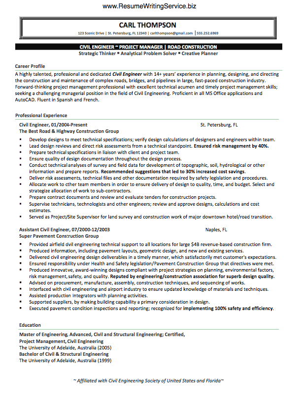 Use Civil Engineer Resume Sample Here  Resume Writing Service