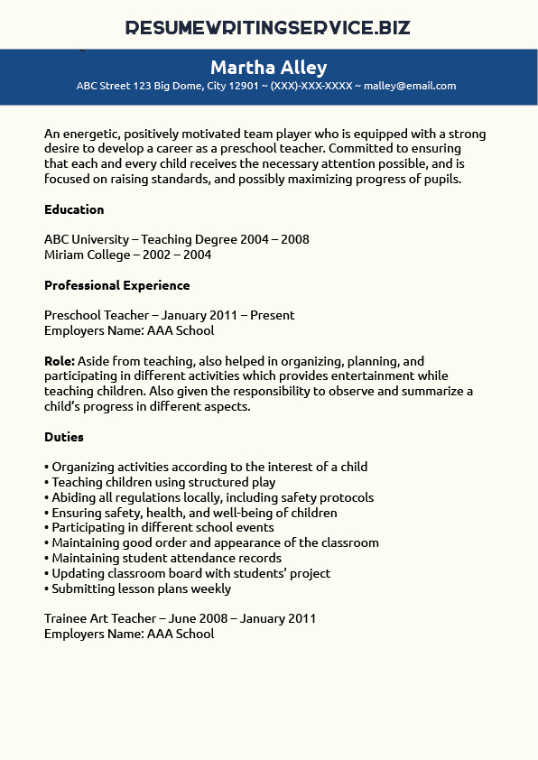 Preschool Teacher Resume Sample