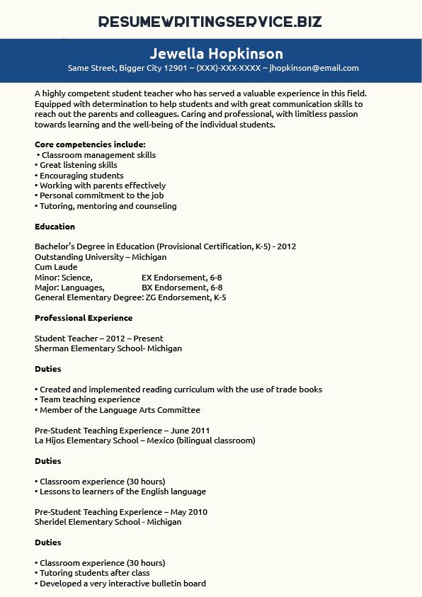 tesol resume free template