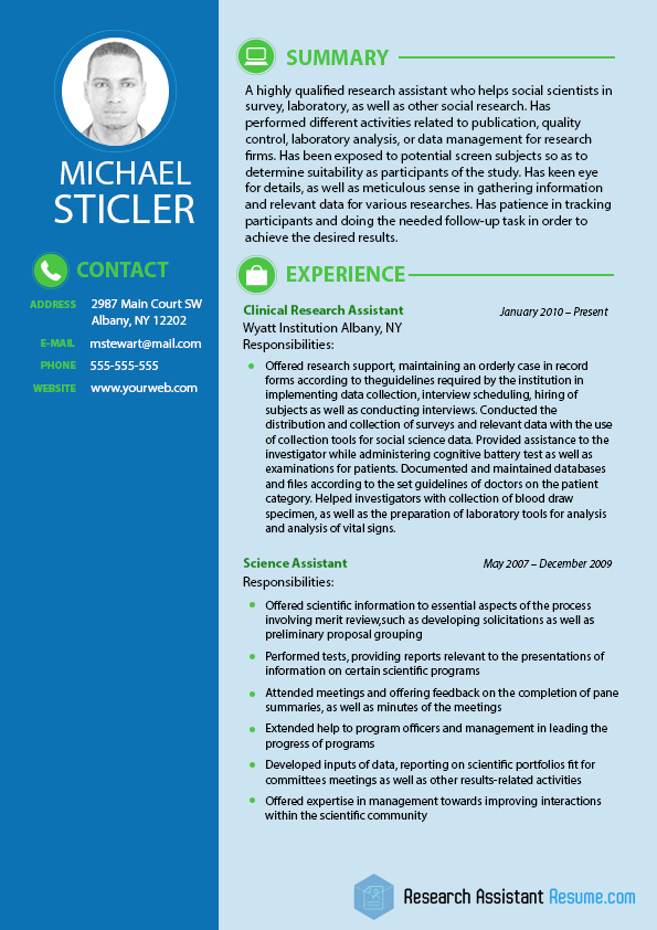 sample resume research assistant