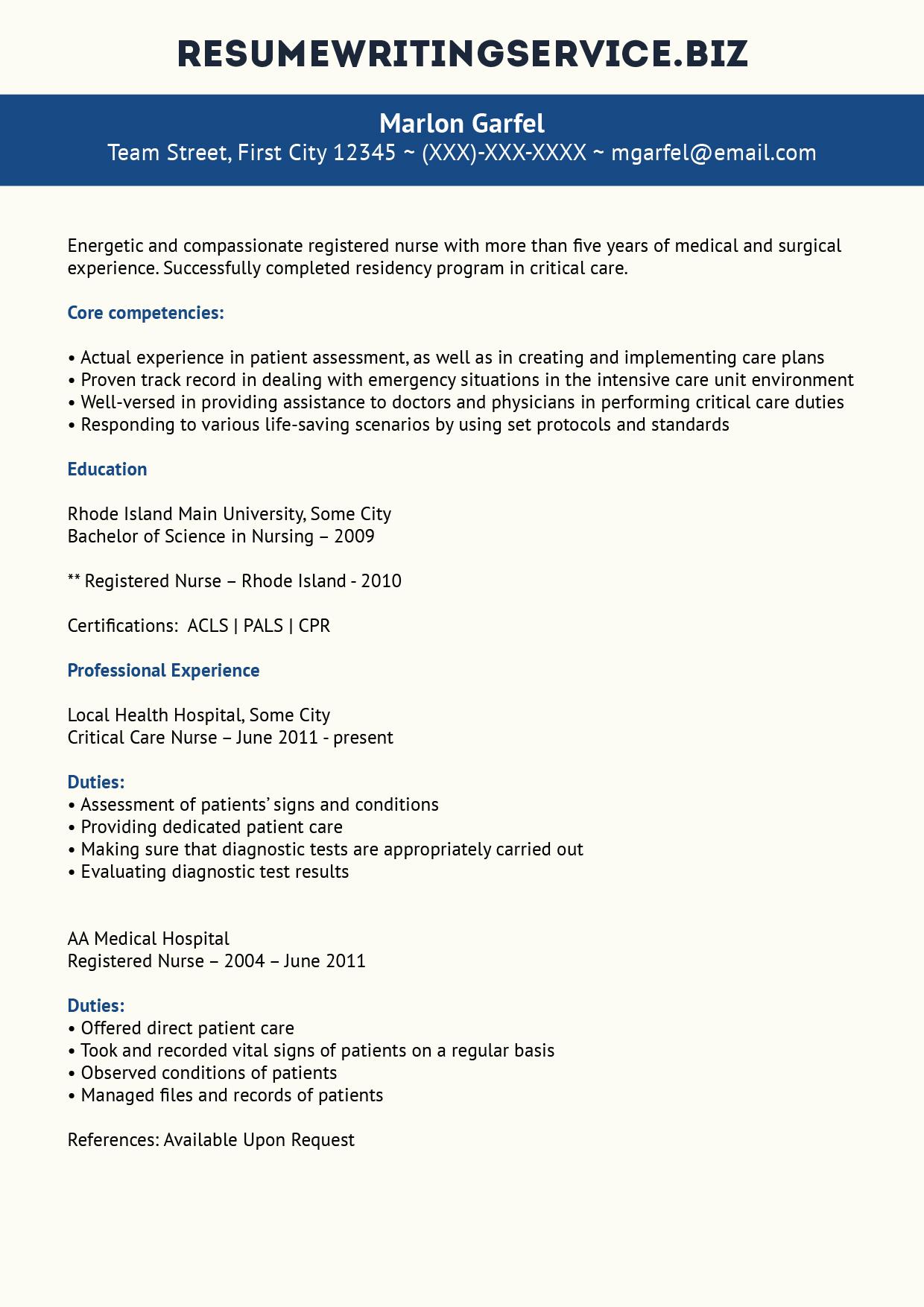 Quality Critical Care Nurse Resume