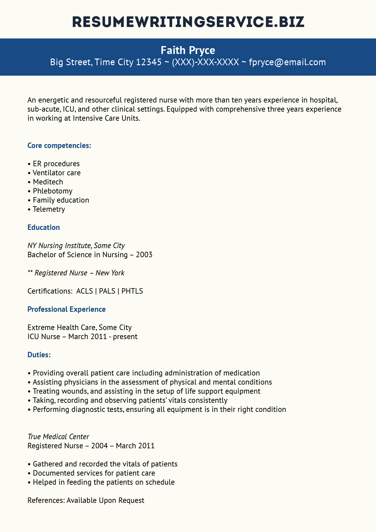 Remarkable ICU Nurse Resume Example