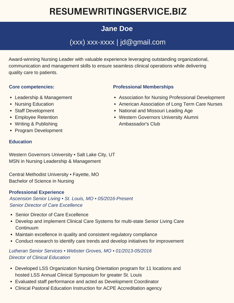 sample professional resume for a nurse manager