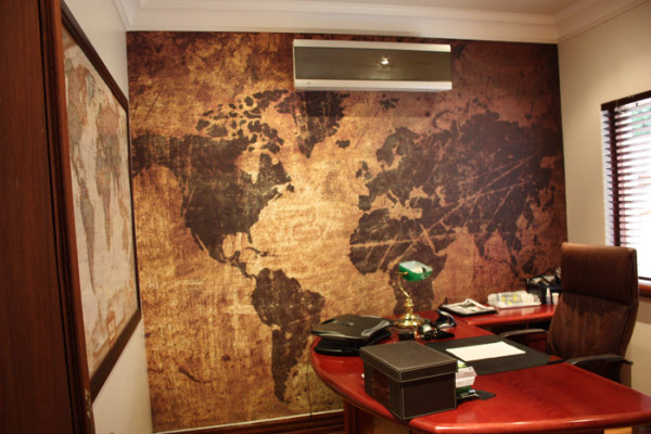 residential printed wallpaper antique world map