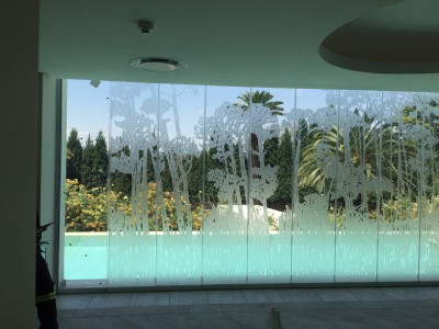 Decorative cut frosted vinyl forest - Westcliff Spa