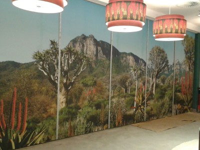 Printed graphic wallpaper mural