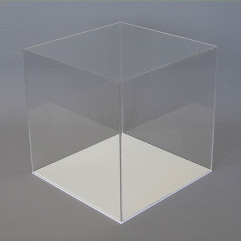 10cm Clear Acrylic Display Case With White Base