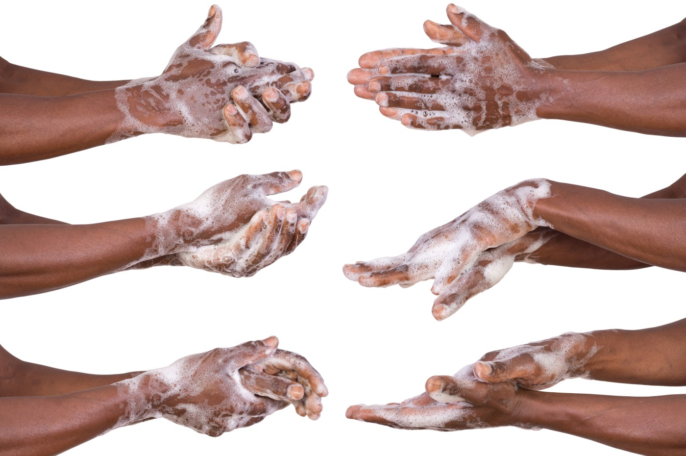 Black hands and forearms on a white background. Image shows the steps of proper handwashing moving vertically from top to bottom, three steps on the left and three steps on the right side of the image.