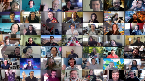 Some ArenaNet studio employees saying hello over a video call from home.
