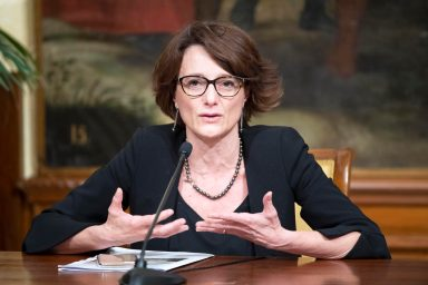 This handout photo provided by the Chigi Palace Press Office shows Italian Family Minister Elena Bonetti attending a press conference at the end of the Cabinet meeting at Chigi Palace in Rome, Italy, 11 June 2020. ANSA/ CHIGI PALACE PRESS OFFICE/ FILIPPO ATTILI +++ ANSA PROVIDES ACCESS TO THIS HANDOUT PHOTO TO BE USED SOLELY TO ILLUSTRATE NEWS REPORTING OR COMMENTARY ON THE FACTS OR EVENTS DEPICTED IN THIS IMAGE; NO ARCHIVING; NO LICENSING +++