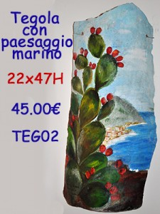 Tegola dipinta a mano con paesaggio marino  Roma