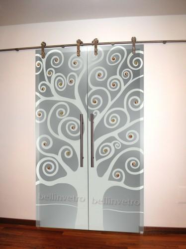 Porte laccate con vetri sabbiati decorati  387  Corleone