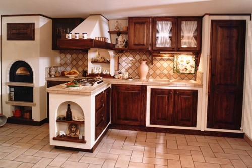 Cucina in finta muratura in legno di massello  Arluno