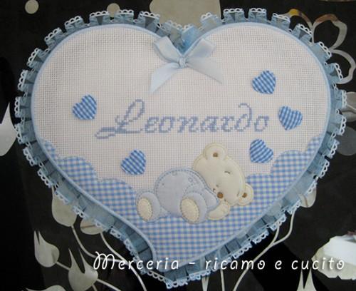 Fiocco nascita cuore celeste per Leonardo  Grottaglie
