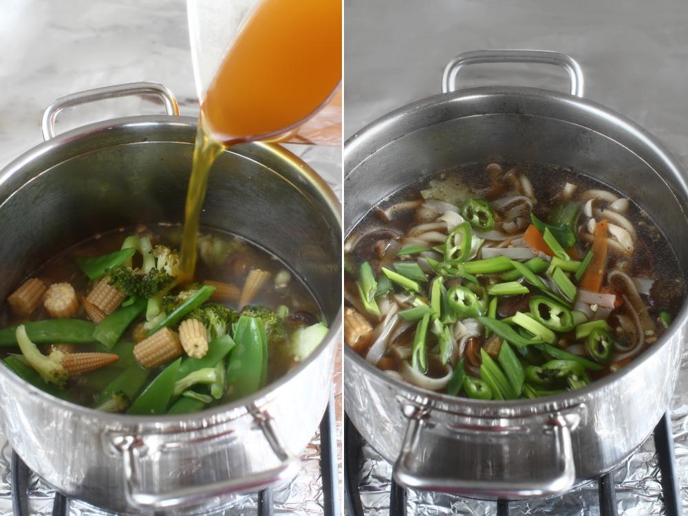 supa cu ciuperci si tofu prajit preparare 3