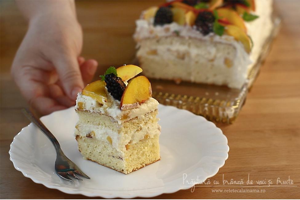 prajitura cu branza de vaci si nectarine, reteta de prajitura cu branza si fructe