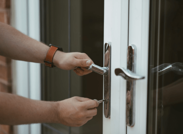 a person locking the door
