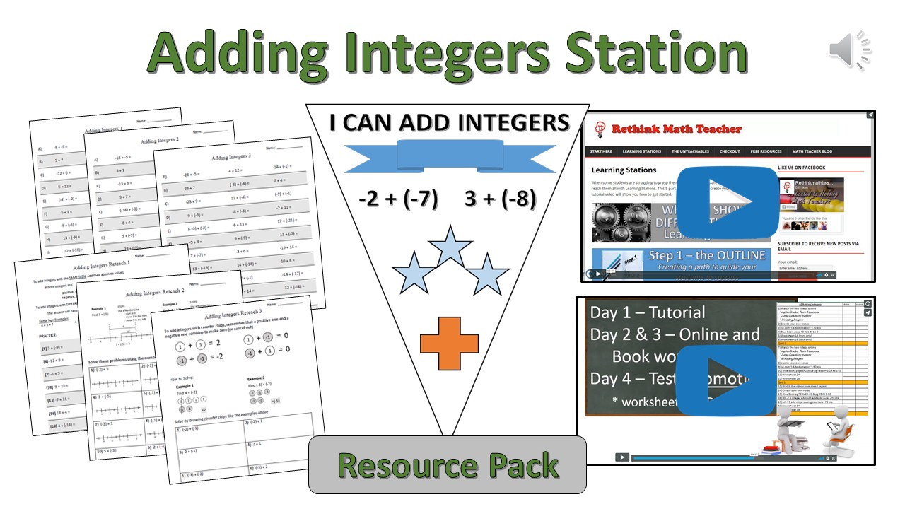 Adding Integers Station Resource Pack