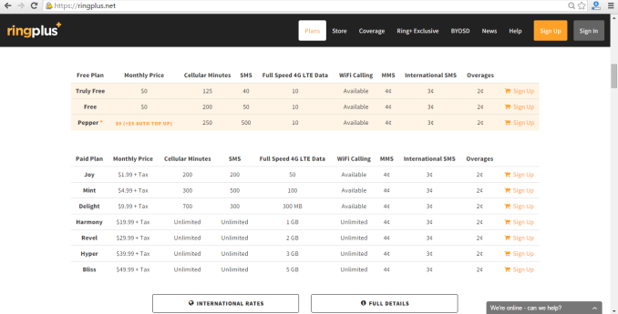 RingPlus Plans ScreenShot