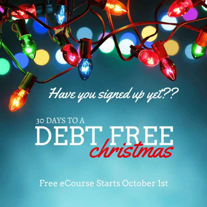 30 Days To A Debt Free Christmas Challenge