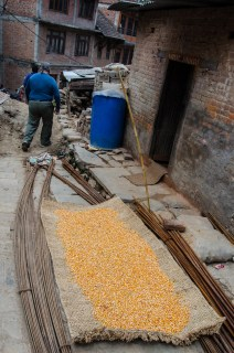 corn drying on a woven mat