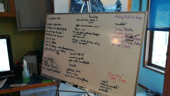 White board of planning