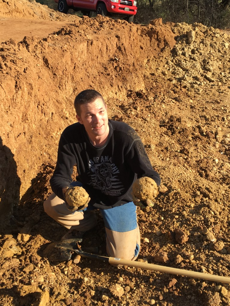 Steve and two nice sized geodes.
