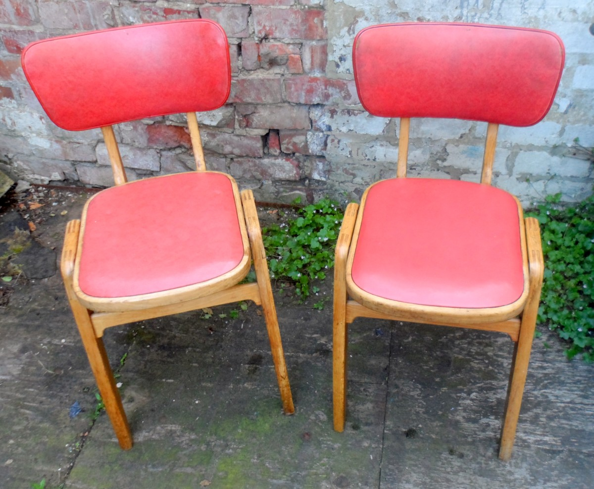 vintage kitchen chairs deals pair of mid 20th century retro diner vinyl wood circa 1950s eric lyons design