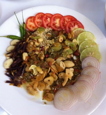Tea Leaf salad at Chancellor restaurant in Yangon, across from the reclining Buddha