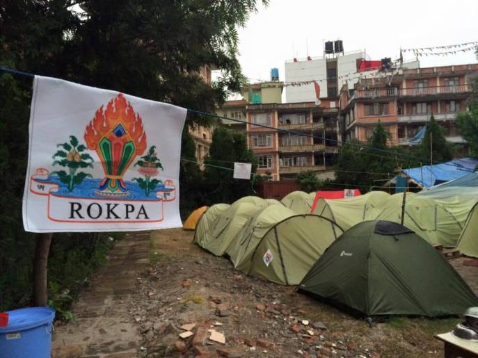 ROKPA housed and fed much of the community after the earthquake in a makeshift tent camp. Image courtesy of ROKPA's Facebook page.