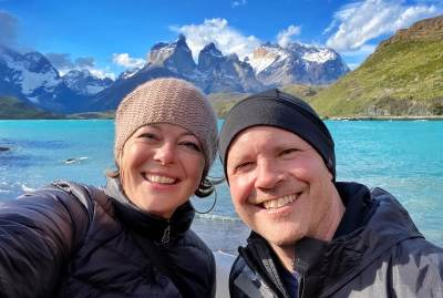 BJ Graf and Lauren Rathvon at Torres del Paine. We love our tours to Patagonia!