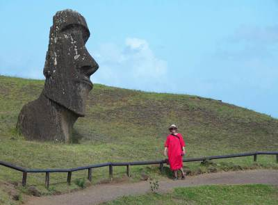 The gravel paths at Rano Raraku quarry on Easter Island.
