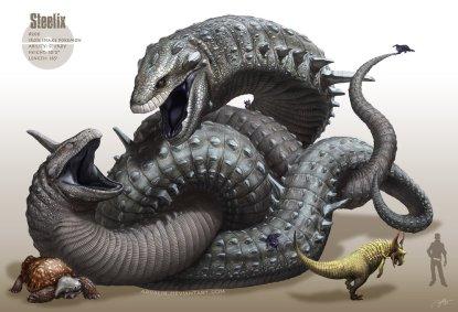 Artwork des Pokémon Onix et Steelix par Arvalis