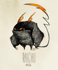 Fanart du Pokémon Raichu avec le style de Tim Burton par HatBoy